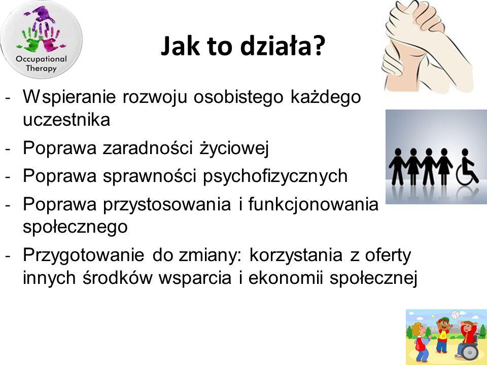 Jak to działa? - Wspieranie rozwoju osobistego każdego uczestnika - Poprawa zaradności życiowej - Poprawa sprawności psychofizycznych - Poprawa przyst