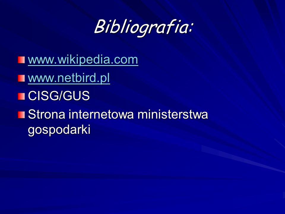 Bibliografia: www.wikipedia.com www.netbird.pl CISG/GUS Strona internetowa ministerstwa gospodarki