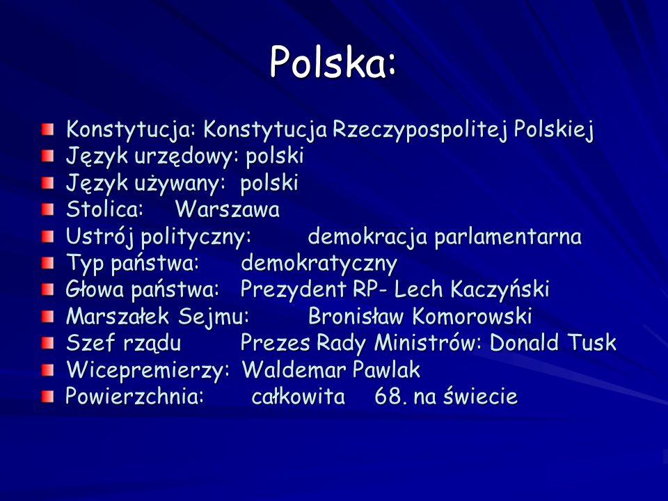 Polska: Konstytucja: Konstytucja Rzeczypospolitej Polskiej Język urzędowy: polski Język używany: polski Stolica:Warszawa Ustrój polityczny:demokracja