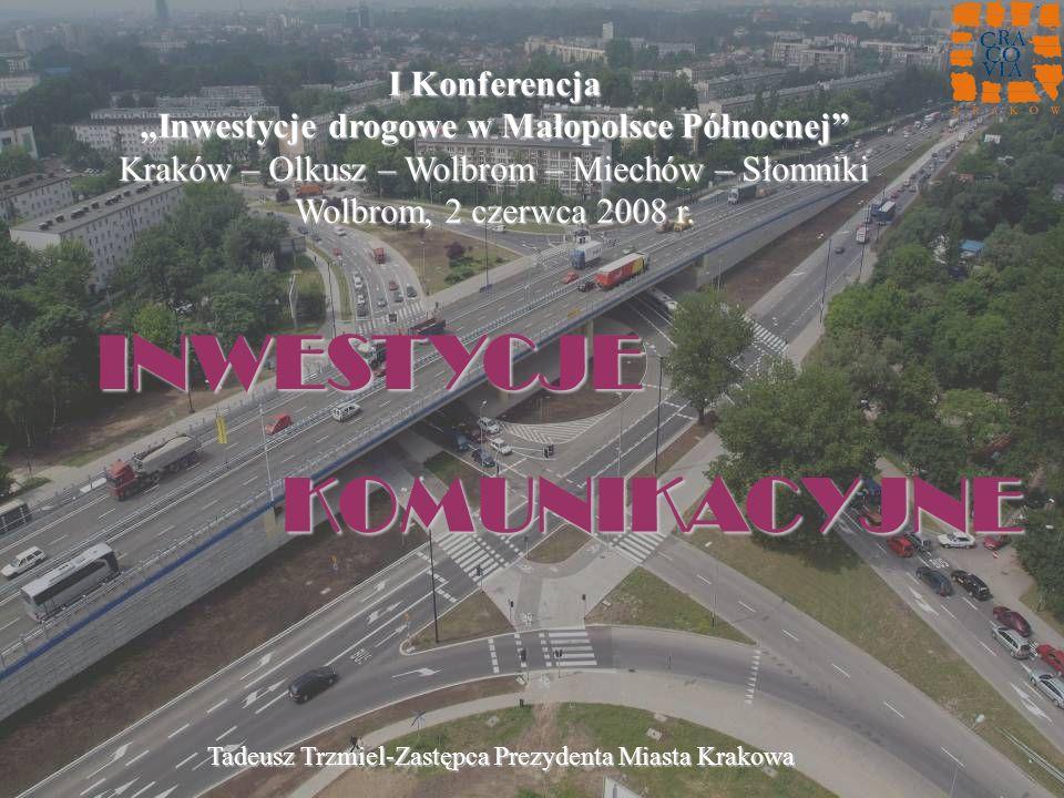 INWESTYCJE KOMUNIKACYJNE KOMUNIKACYJNE I Konferencja Inwestycje drogowe w Małopolsce Północnej Kraków – Olkusz – Wolbrom – Miechów – Słomniki Wolbrom,