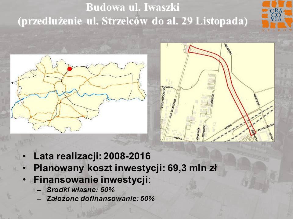 Budowa ul. Iwaszki (przedłużenie ul. Strzelców do al. 29 Listopada) Lata realizacji: 2008-2016 Planowany koszt inwestycji: 69,3 mln zł Finansowanie in