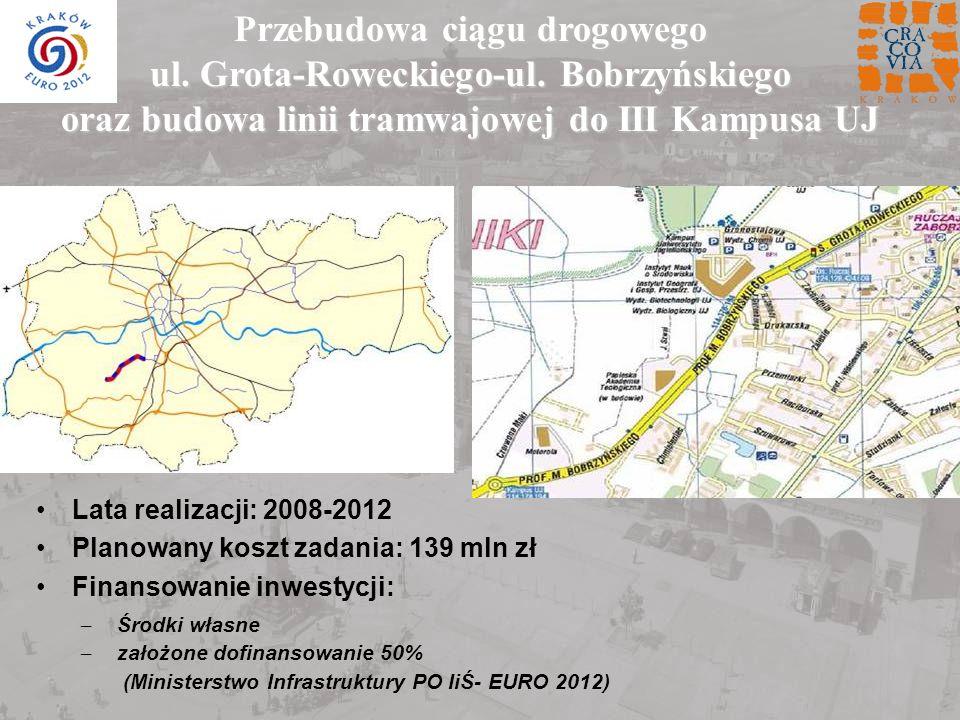 Przebudowa ciągu drogowego ul. Grota-Roweckiego-ul. Bobrzyńskiego oraz budowa linii tramwajowej do III Kampusa UJ Lata realizacji: 2008-2012 Planowany