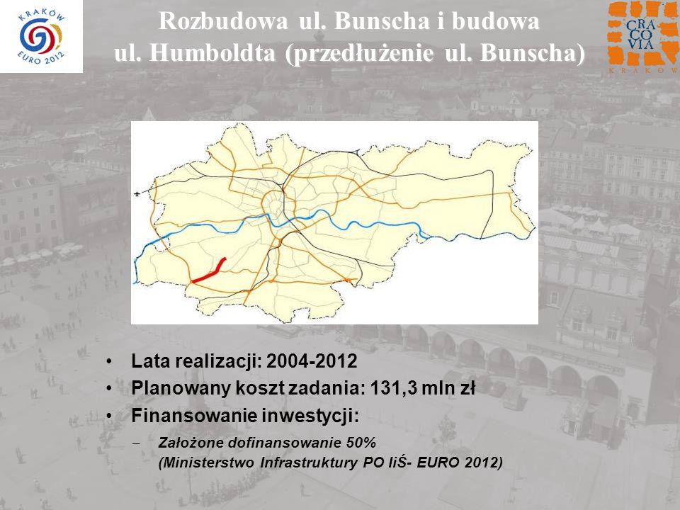 Lata realizacji: 2004-2012 Planowany koszt zadania: 131,3 mln zł Finansowanie inwestycji: Rozbudowa ul. Bunscha i budowa ul. Humboldta (przedłużenie u