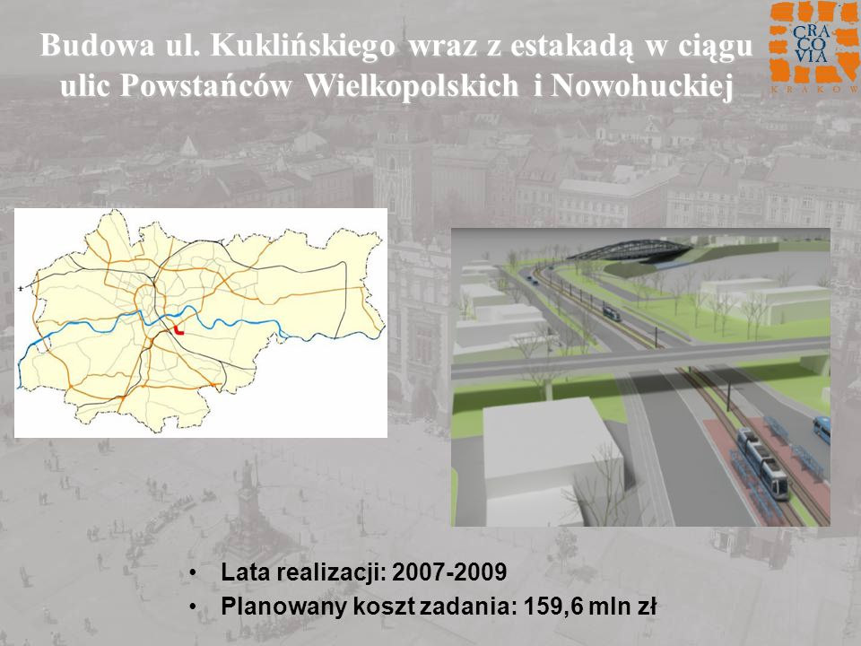 Budowa ul. Kuklińskiego wraz z estakadą w ciągu ulic Powstańców Wielkopolskich i Nowohuckiej Lata realizacji: 2007-2009 Planowany koszt zadania: 159,6