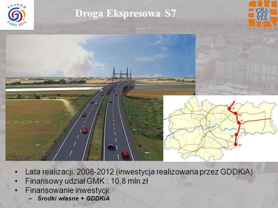 Droga Ekspresowa S7 Lata realizacji: 2008-2012 (inwestycja realizowana przez GDDKiA) Finansowy udział GMK : 10,8 mln zł Finansowanie inwestycji: –Środ