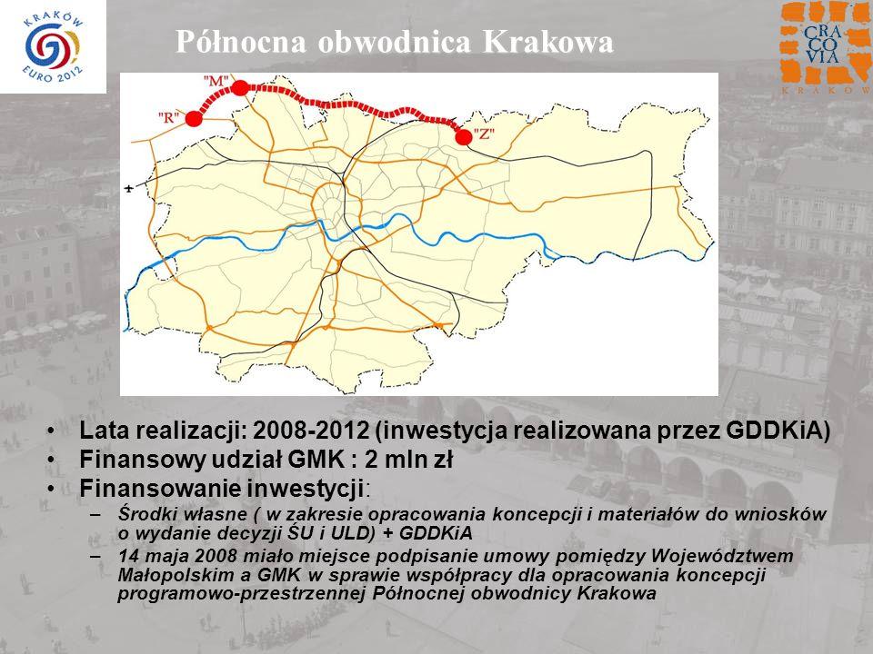 Północna obwodnica Krakowa Lata realizacji: 2008-2012 (inwestycja realizowana przez GDDKiA) Finansowy udział GMK : 2 mln zł Finansowanie inwestycji: –Środki własne ( w zakresie opracowania koncepcji i materiałów do wniosków o wydanie decyzji ŚU i ULD) + GDDKiA –14 maja 2008 miało miejsce podpisanie umowy pomiędzy Województwem Małopolskim a GMK w sprawie współpracy dla opracowania koncepcji programowo-przestrzennej Północnej obwodnicy Krakowa