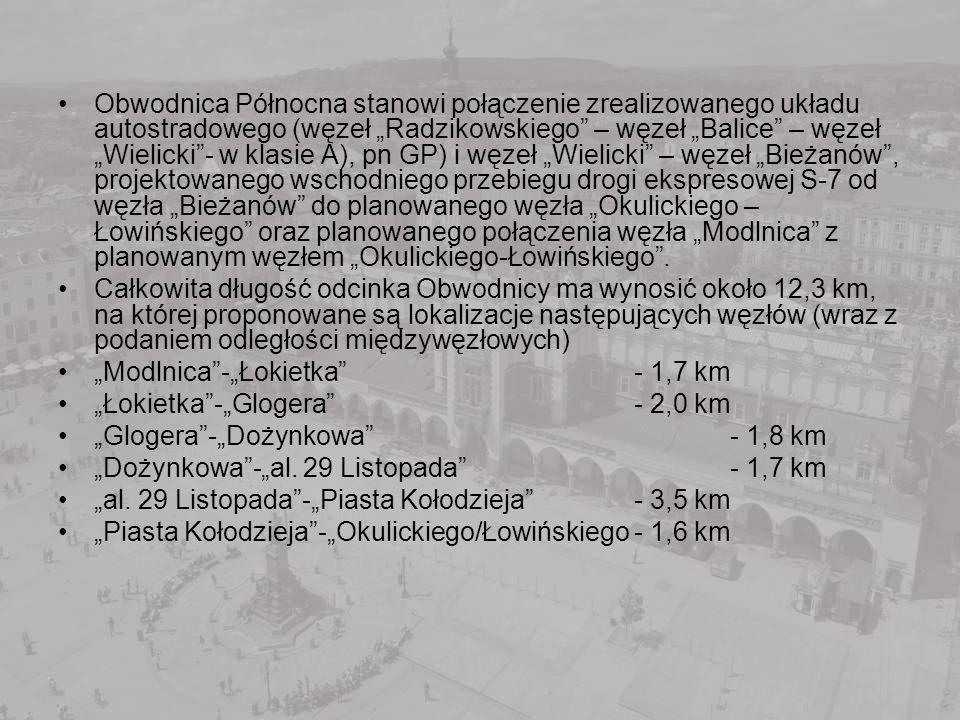 Obwodnica Północna stanowi połączenie zrealizowanego układu autostradowego (węzeł Radzikowskiego – węzeł Balice – węzeł Wielicki- w klasie A), pn GP)