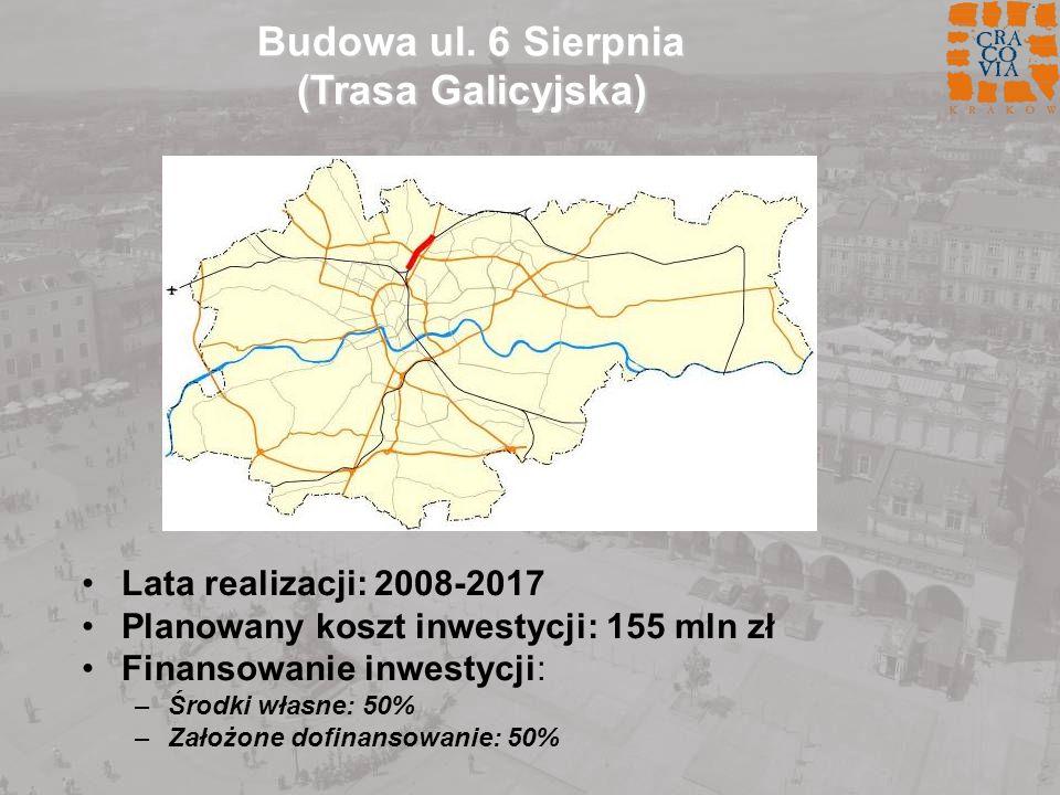 Budowa ul. 6 Sierpnia (Trasa Galicyjska) Lata realizacji: 2008-2017 Planowany koszt inwestycji: 155 mln zł Finansowanie inwestycji: –Środki własne: 50