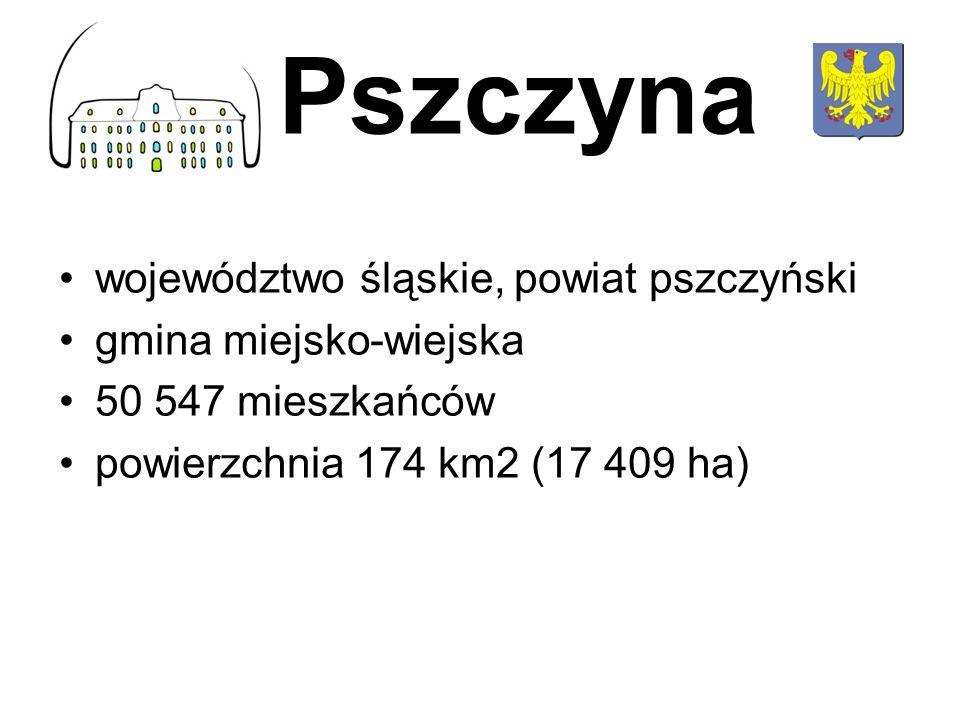 województwo śląskie, powiat pszczyński gmina miejsko-wiejska 50 547 mieszkańców powierzchnia 174 km2 (17 409 ha) Pszczyna