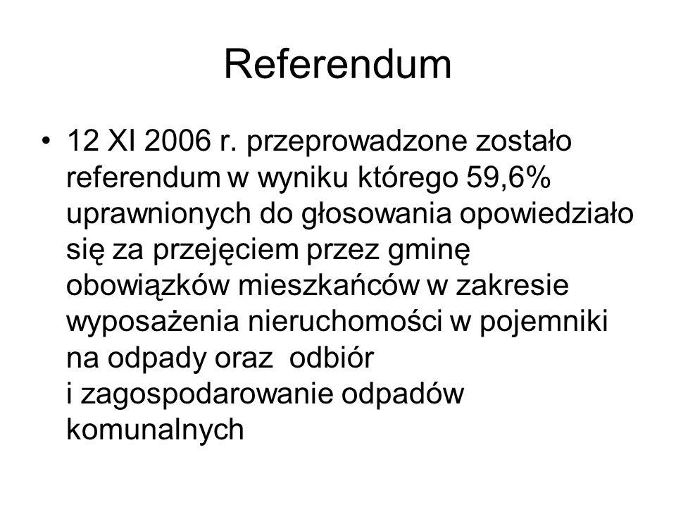 Referendum 12 XI 2006 r. przeprowadzone zostało referendum w wyniku którego 59,6% uprawnionych do głosowania opowiedziało się za przejęciem przez gmin