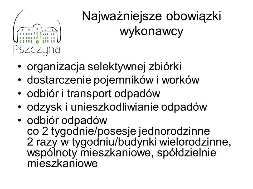 Najważniejsze obowiązki wykonawcy organizacja selektywnej zbiórki dostarczenie pojemników i worków odbiór i transport odpadów odzysk i unieszkodliwian