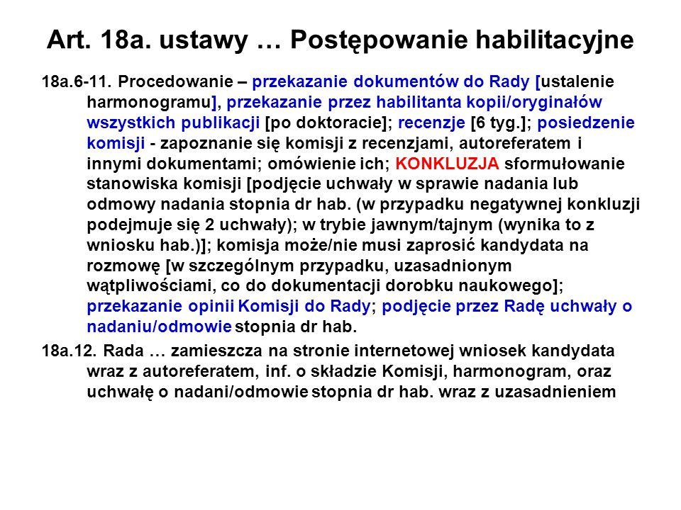 Art. 18a. ustawy … Postępowanie habilitacyjne 18a.6-11. Procedowanie – przekazanie dokumentów do Rady [ustalenie harmonogramu], przekazanie przez habi