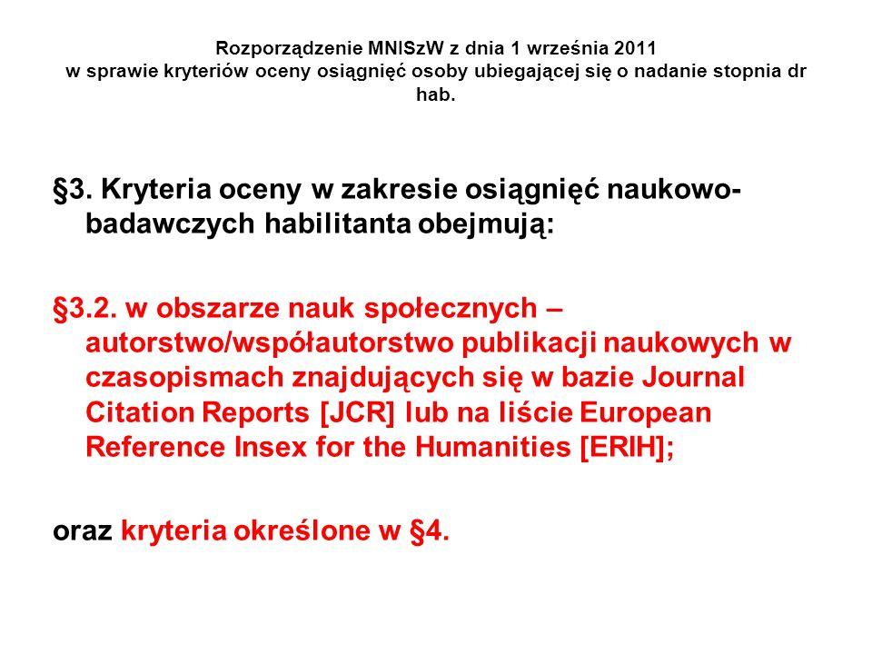 Rozporządzenie MNISzW z dnia 1 września 2011 w sprawie kryteriów oceny osiągnięć osoby ubiegającej się o nadanie stopnia dr hab. §3. Kryteria oceny w