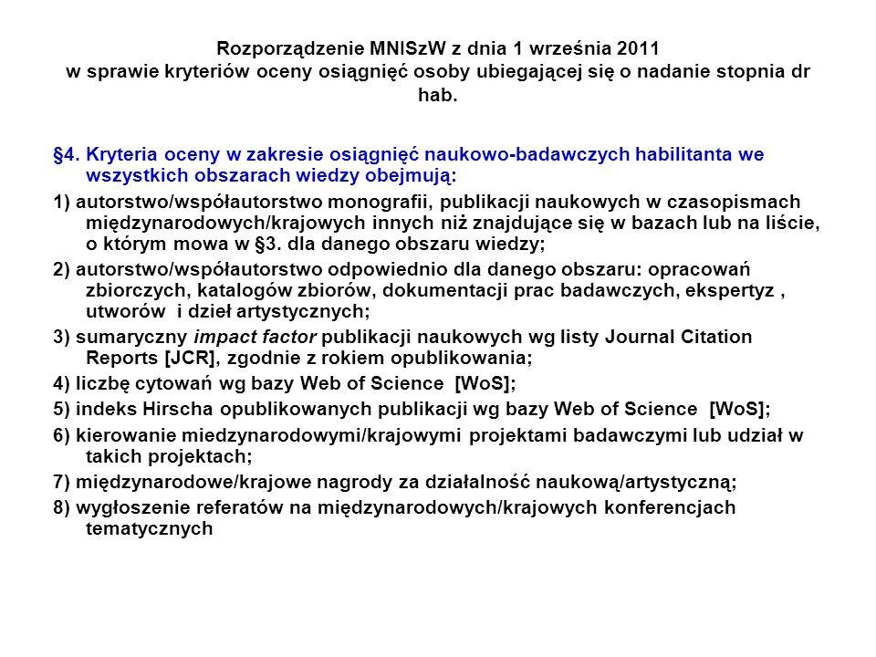 Rozporządzenie MNISzW z dnia 1 września 2011 w sprawie kryteriów oceny osiągnięć osoby ubiegającej się o nadanie stopnia dr hab. §4. Kryteria oceny w