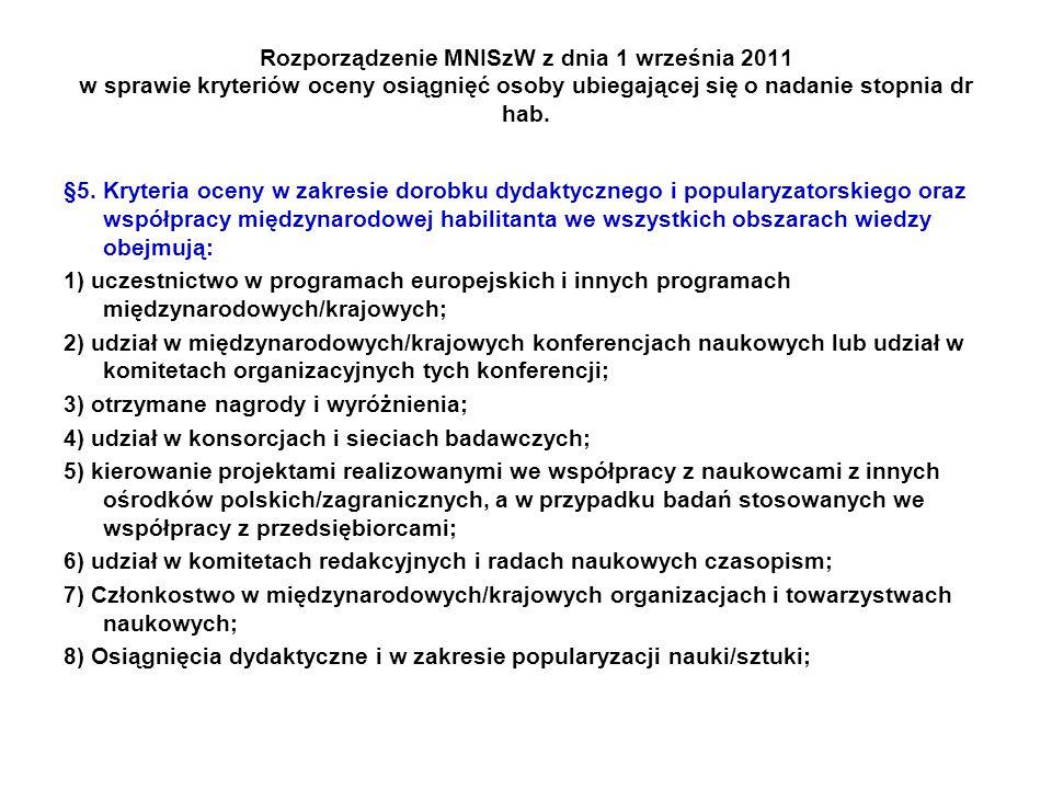 Rozporządzenie MNISzW z dnia 1 września 2011 w sprawie kryteriów oceny osiągnięć osoby ubiegającej się o nadanie stopnia dr hab. §5. Kryteria oceny w