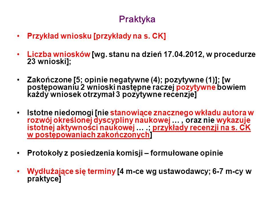 Praktyka Przykład wniosku [przykłady na s. CK] Liczba wniosków [wg. stanu na dzień 17.04.2012, w procedurze 23 wnioski]; Zakończone [5; opinie negatyw