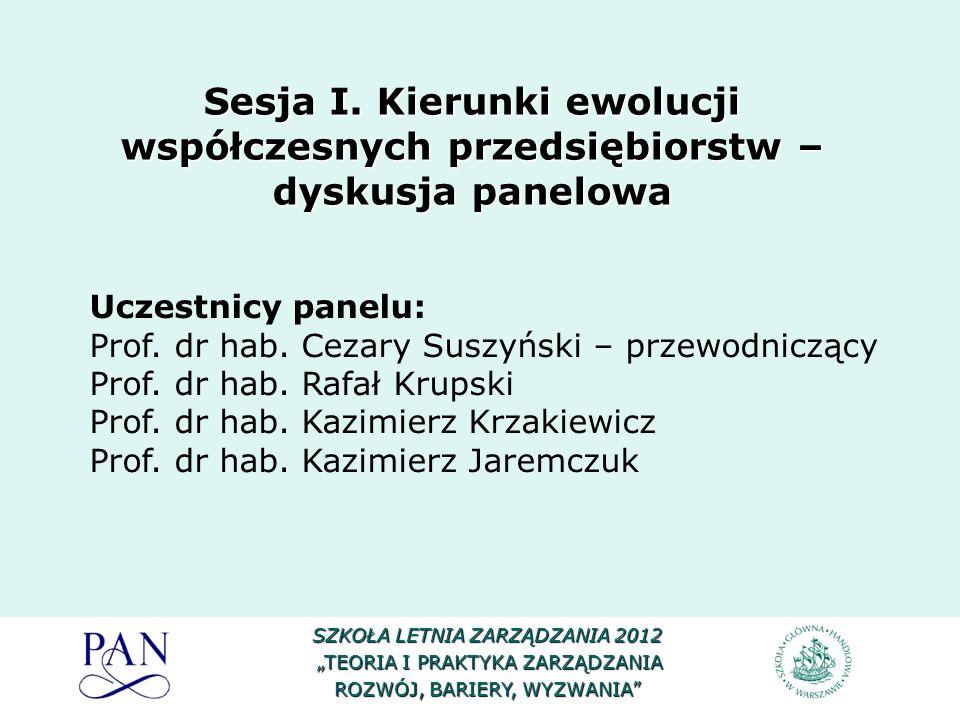 SZKOŁA LETNIA ZARZĄDZANIA 2012 TEORIA I PRAKTYKA ZARZĄDZANIA TEORIA I PRAKTYKA ZARZĄDZANIA ROZWÓJ, BARIERY, WYZWANIA Uczestnicy panelu: Prof. dr hab.