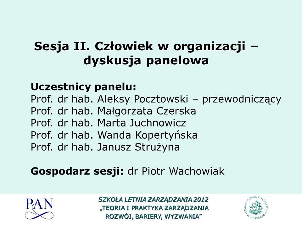 Uczestnicy panelu: Prof. dr hab. Aleksy Pocztowski – przewodniczący Prof. dr hab. Małgorzata Czerska Prof. dr hab. Marta Juchnowicz Prof. dr hab. Wand
