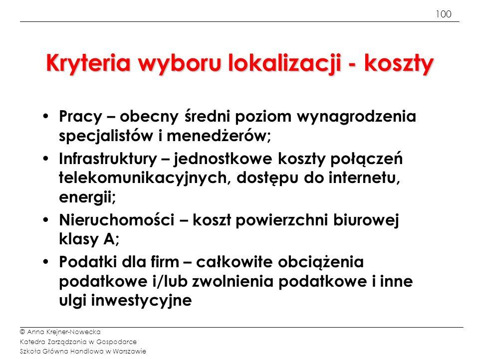 100 © Anna Krejner-Nowecka Katedra Zarządzania w Gospodarce Szkoła Główna Handlowa w Warszawie Kryteria wyboru lokalizacji - koszty Pracy – obecny śre