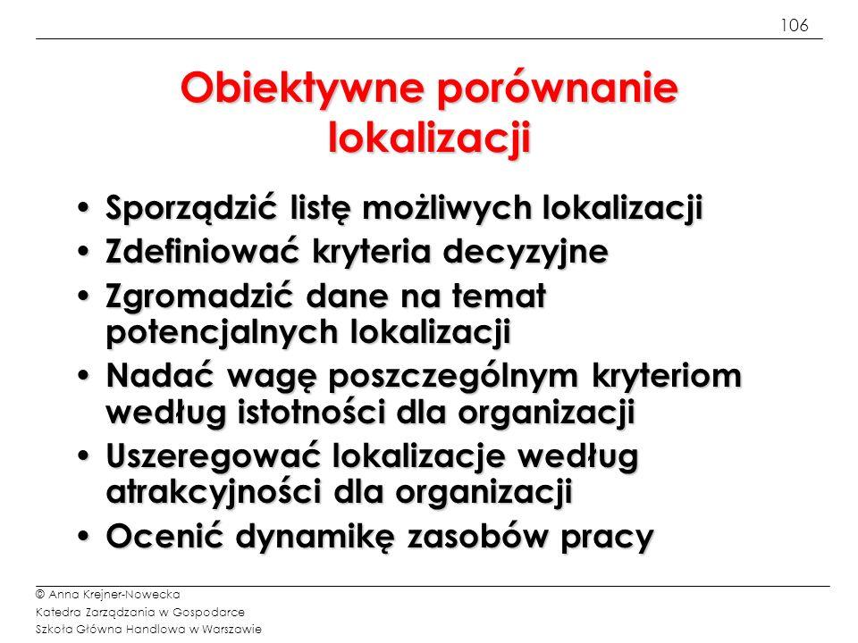 106 © Anna Krejner-Nowecka Katedra Zarządzania w Gospodarce Szkoła Główna Handlowa w Warszawie Obiektywne porównanie lokalizacji Sporządzić listę możl