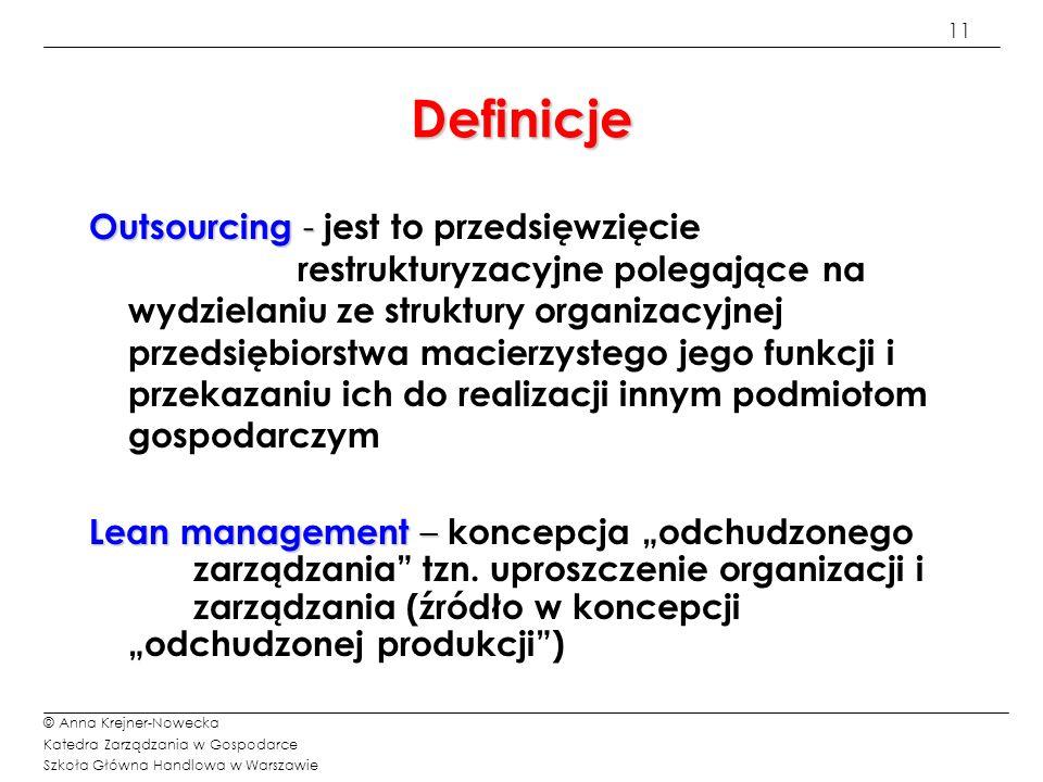 11 © Anna Krejner-Nowecka Katedra Zarządzania w Gospodarce Szkoła Główna Handlowa w Warszawie Definicje Outsourcing - Outsourcing - jest to przedsięwz