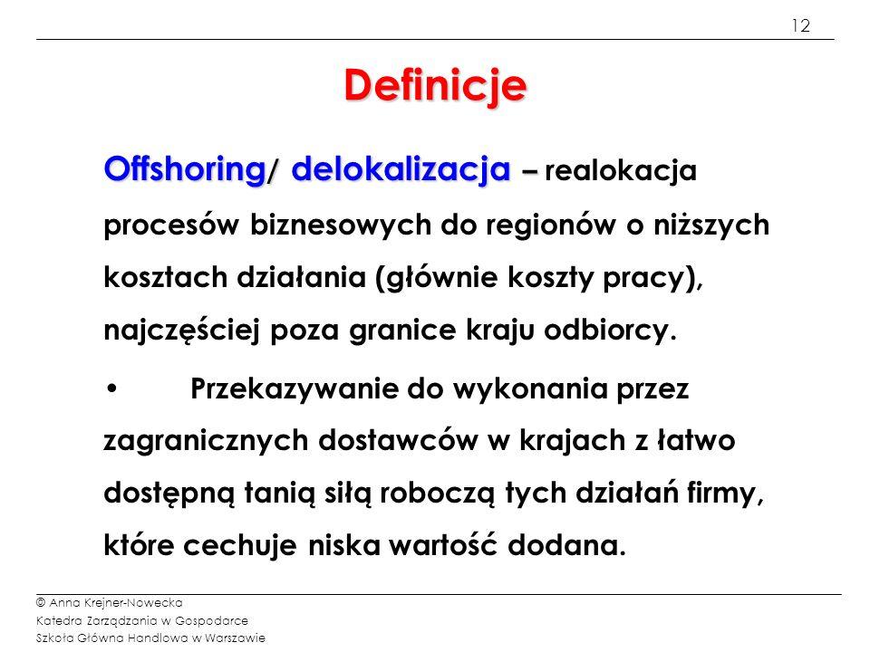 12 © Anna Krejner-Nowecka Katedra Zarządzania w Gospodarce Szkoła Główna Handlowa w Warszawie Definicje Offshoring / delokalizacja – Offshoring / delo