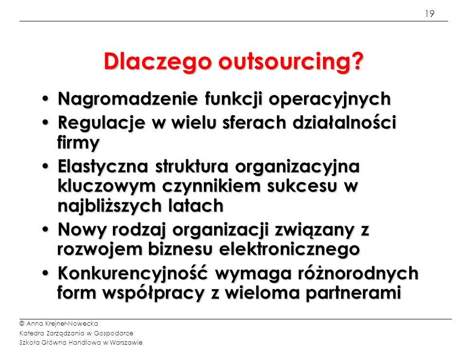 19 © Anna Krejner-Nowecka Katedra Zarządzania w Gospodarce Szkoła Główna Handlowa w Warszawie Dlaczego outsourcing? Nagromadzenie funkcji operacyjnych