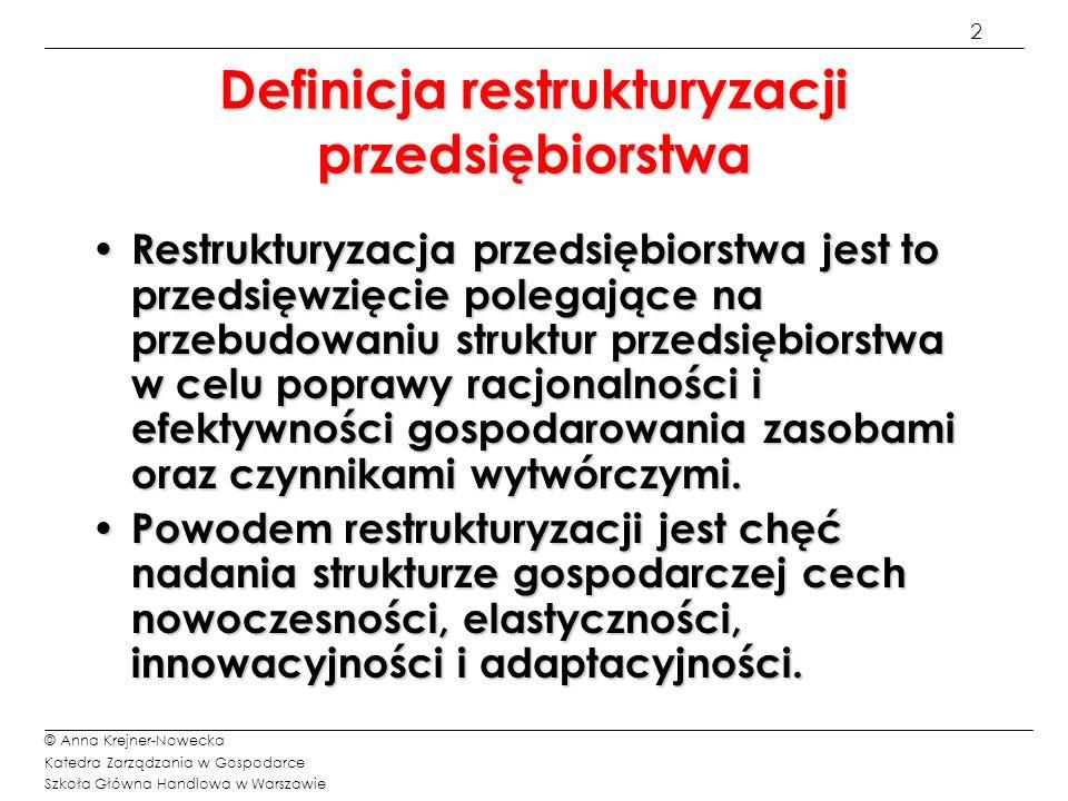 2 © Anna Krejner-Nowecka Katedra Zarządzania w Gospodarce Szkoła Główna Handlowa w Warszawie Definicja restrukturyzacji przedsiębiorstwa Restrukturyza