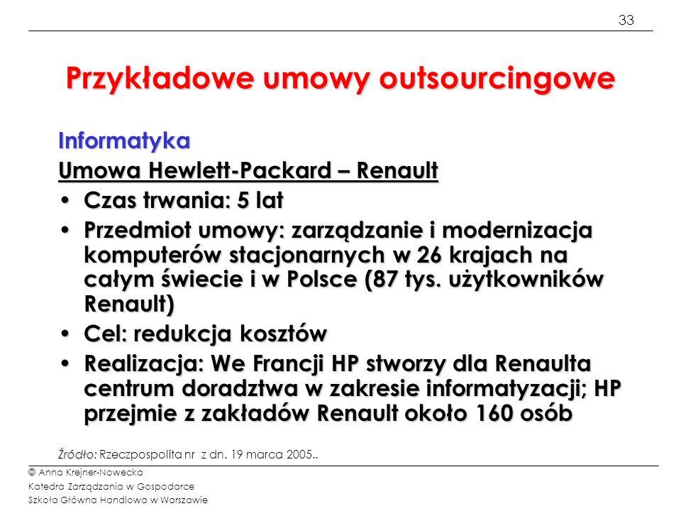 33 © Anna Krejner-Nowecka Katedra Zarządzania w Gospodarce Szkoła Główna Handlowa w Warszawie Przykładowe umowy outsourcingowe Informatyka Umowa Hewle