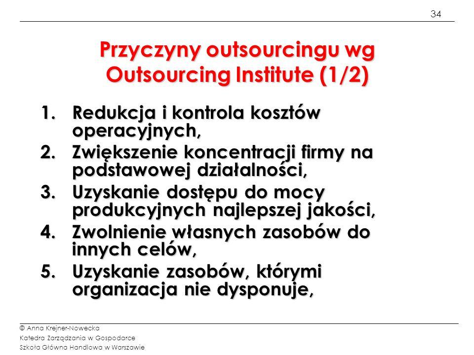 34 © Anna Krejner-Nowecka Katedra Zarządzania w Gospodarce Szkoła Główna Handlowa w Warszawie Przyczyny outsourcingu wg Outsourcing Institute (1/2) 1.