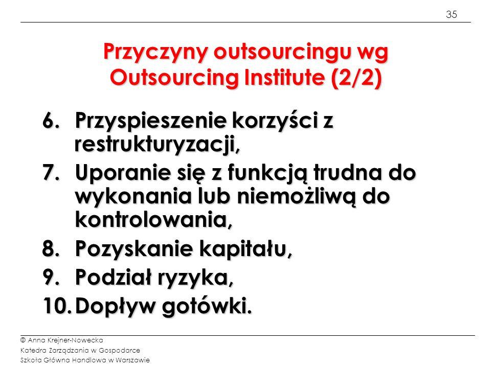 35 © Anna Krejner-Nowecka Katedra Zarządzania w Gospodarce Szkoła Główna Handlowa w Warszawie Przyczyny outsourcingu wg Outsourcing Institute (2/2) 6.