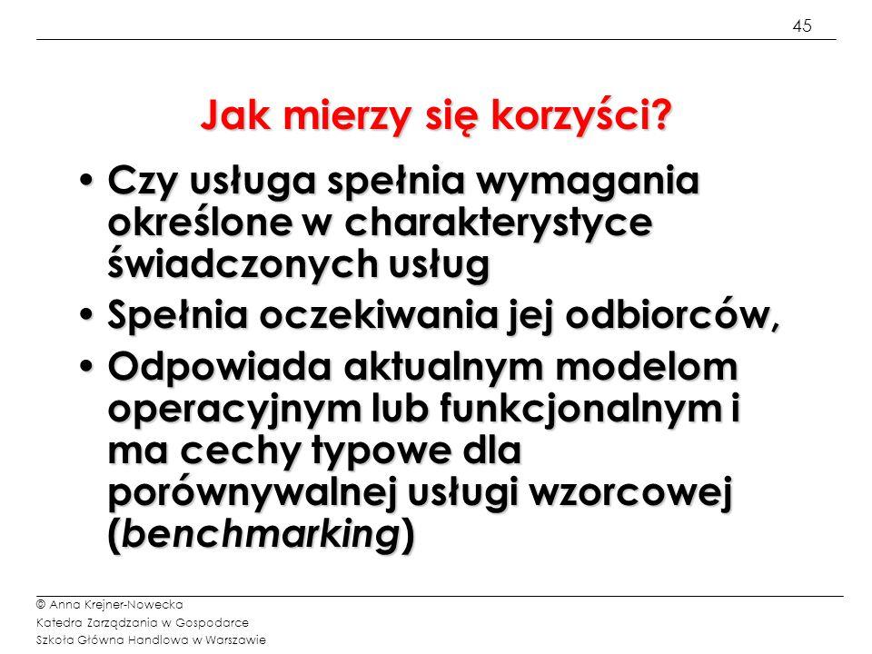 45 © Anna Krejner-Nowecka Katedra Zarządzania w Gospodarce Szkoła Główna Handlowa w Warszawie Jak mierzy się korzyści? Czy usługa spełnia wymagania ok