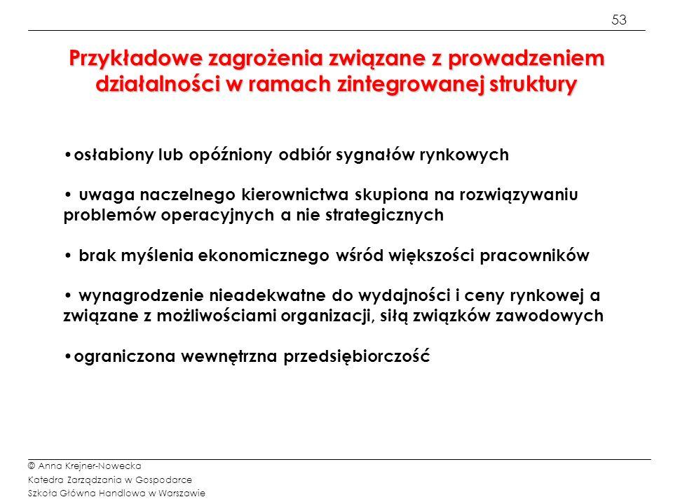 53 © Anna Krejner-Nowecka Katedra Zarządzania w Gospodarce Szkoła Główna Handlowa w Warszawie Przykładowe zagrożenia związane z prowadzeniem działalno