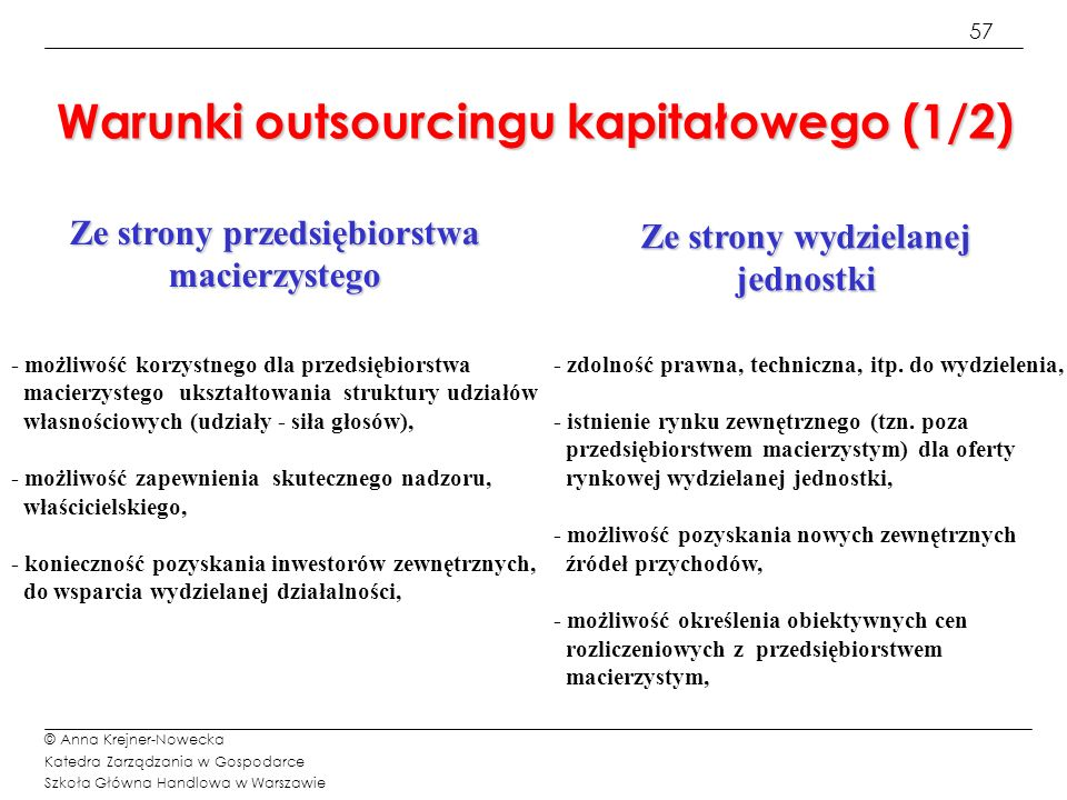 57 © Anna Krejner-Nowecka Katedra Zarządzania w Gospodarce Szkoła Główna Handlowa w Warszawie Warunki outsourcingu kapitałowego (1/2) Ze strony przeds