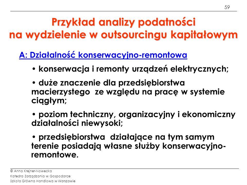 59 © Anna Krejner-Nowecka Katedra Zarządzania w Gospodarce Szkoła Główna Handlowa w Warszawie Przykład analizy podatności na wydzielenie w outsourcing