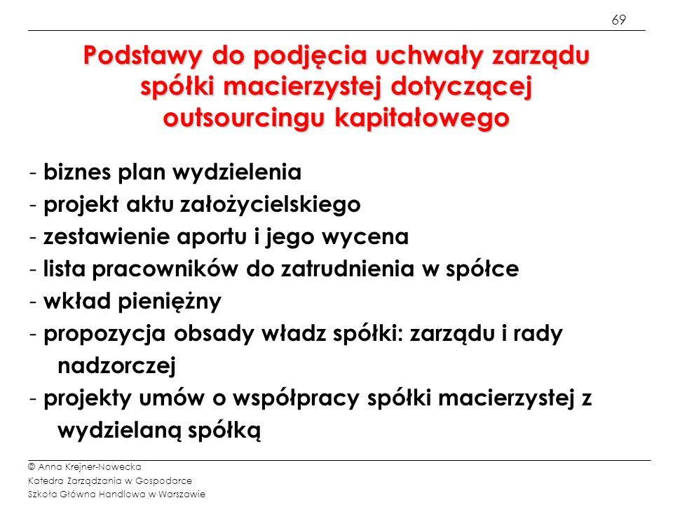 69 © Anna Krejner-Nowecka Katedra Zarządzania w Gospodarce Szkoła Główna Handlowa w Warszawie - biznes plan wydzielenia - projekt aktu założycielskieg