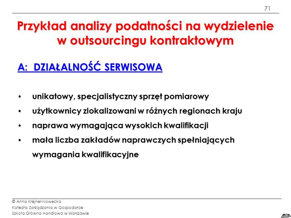 71 © Anna Krejner-Nowecka Katedra Zarządzania w Gospodarce Szkoła Główna Handlowa w Warszawie A: DZIAŁALNOŚĆ SERWISOWA unikatowy, specjalistyczny sprz