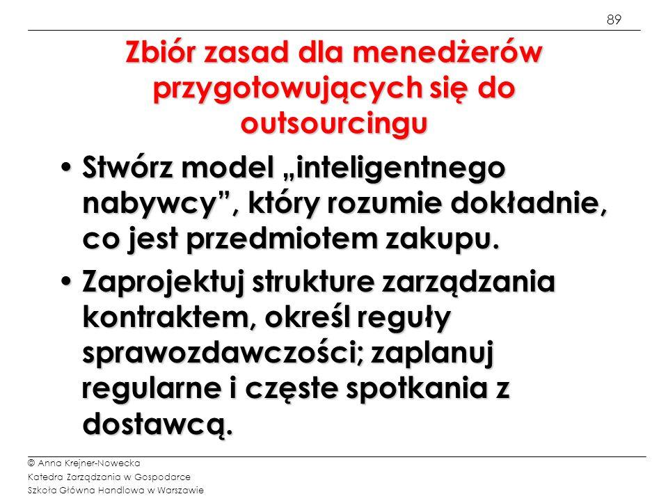 89 © Anna Krejner-Nowecka Katedra Zarządzania w Gospodarce Szkoła Główna Handlowa w Warszawie Zbiór zasad dla menedżerów przygotowujących się do outso