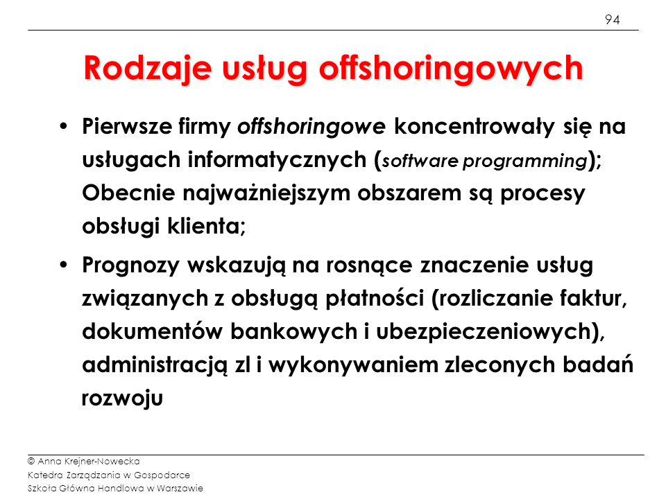 94 © Anna Krejner-Nowecka Katedra Zarządzania w Gospodarce Szkoła Główna Handlowa w Warszawie Rodzaje usług offshoringowych Pierwsze firmy offshoringo