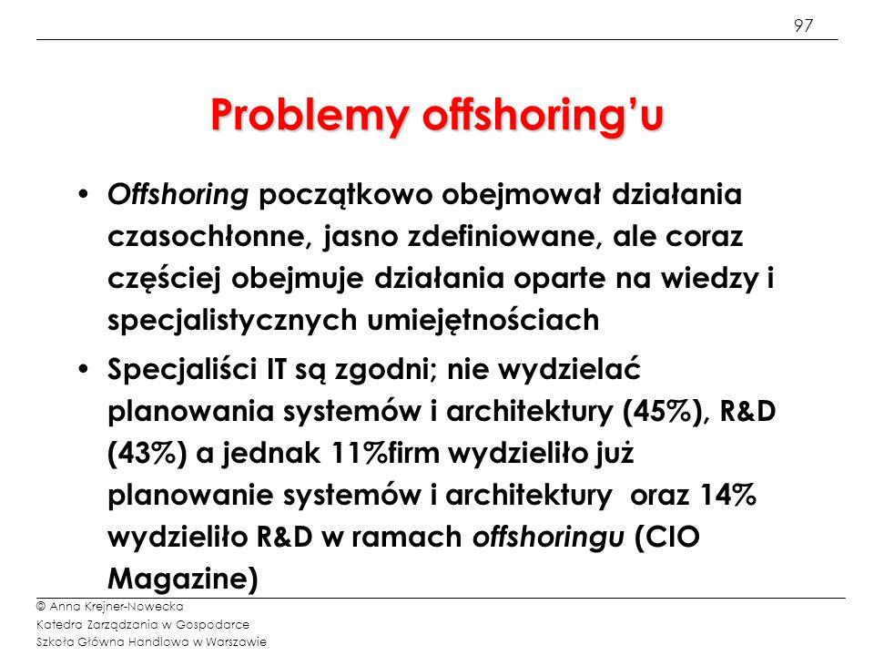 97 © Anna Krejner-Nowecka Katedra Zarządzania w Gospodarce Szkoła Główna Handlowa w Warszawie Problemy offshoringu Offshoring początkowo obejmował dzi