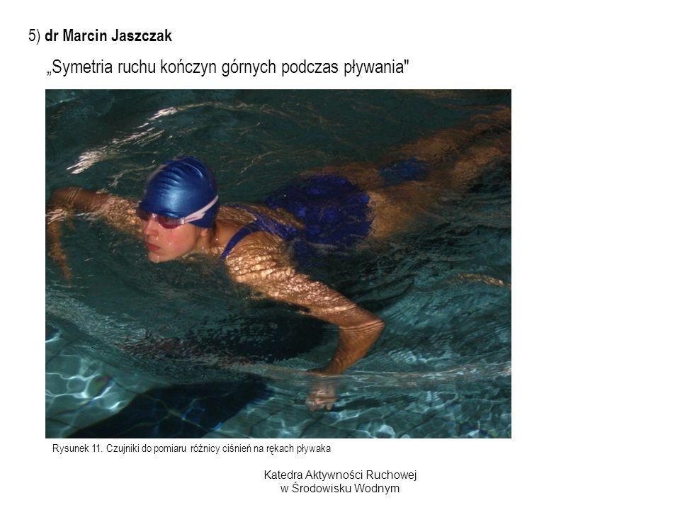 Rysunek 11. Czujniki do pomiaru różnicy ciśnień na rękach pływaka Katedra Aktywności Ruchowej w Środowisku Wodnym Symetria ruchu kończyn górnych podcz