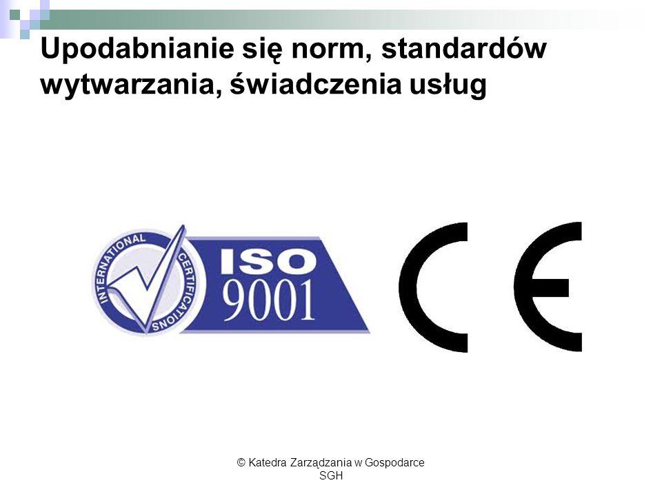 Upodabnianie się norm, standardów wytwarzania, świadczenia usług © Katedra Zarządzania w Gospodarce SGH
