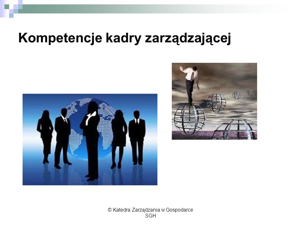 Kompetencje kadry zarządzającej © Katedra Zarządzania w Gospodarce SGH