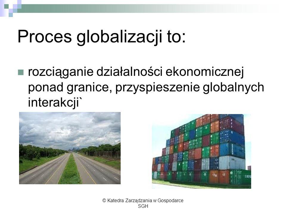 Proces globalizacji to: rozciąganie działalności ekonomicznej ponad granice, przyspieszenie globalnych interakcji` © Katedra Zarządzania w Gospodarce