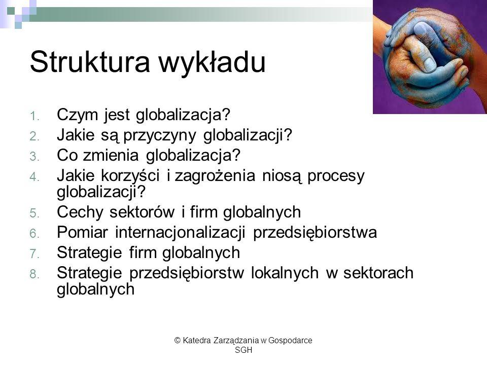 Struktura wykładu 1. Czym jest globalizacja? 2. Jakie są przyczyny globalizacji? 3. Co zmienia globalizacja? 4. Jakie korzyści i zagrożenia niosą proc