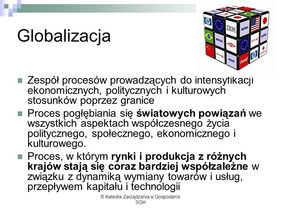 Globalizacja ekonomiczna Postępujący proces integrowania się krajowych i regionalnych rynków w jeden globalny rynek towarów, usług i kapitału.