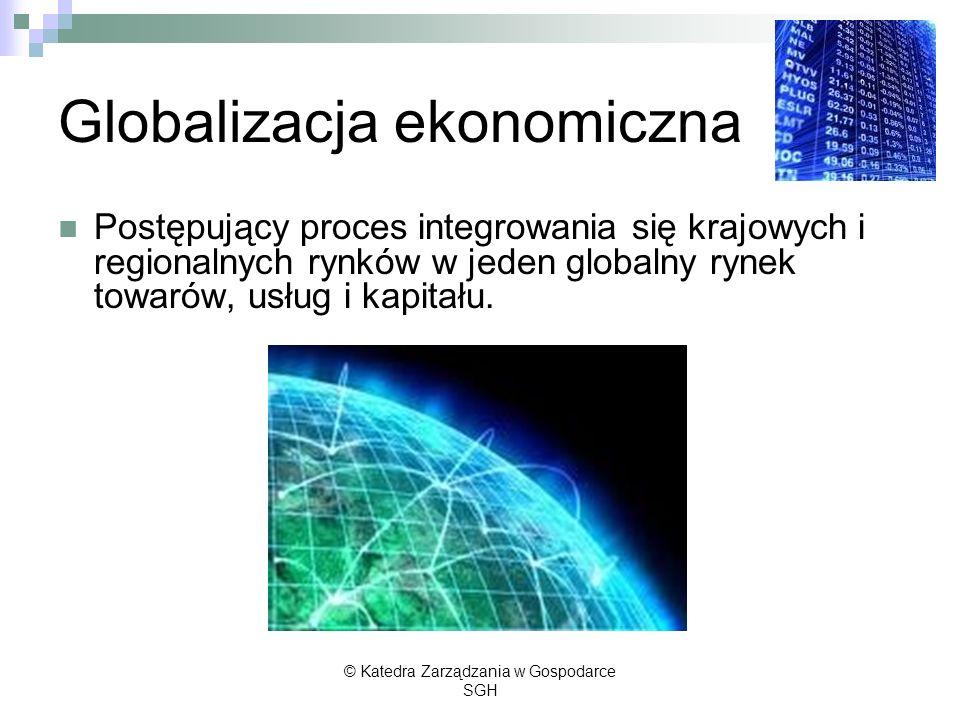 Globalizacja ekonomiczna Postępujący proces integrowania się krajowych i regionalnych rynków w jeden globalny rynek towarów, usług i kapitału. © Kated