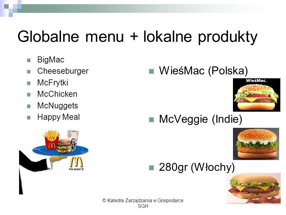 Globalne menu + lokalne produkty BigMac Cheeseburger McFrytki McChicken McNuggets Happy Meal WieśMac (Polska) McVeggie (Indie) 280gr (Włochy) © Katedr