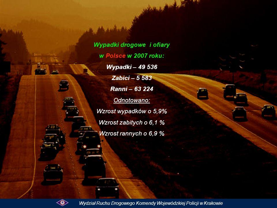 W 2007 roku nietrzeźwi kierowcy spowodowali wypadków 274( 278 ) – spadek o 4 tj.