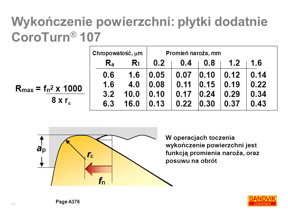 /17 In a turning operation, surface finish is a function of nose radius and feed per revolution Chropowatość, m Promień naroża, mm R a R t 0.20.40.81.